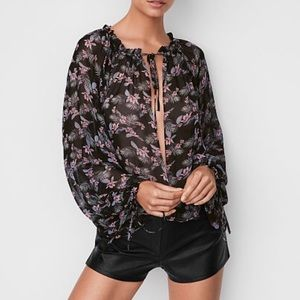 Sheer open front blouse great floral pattern